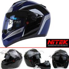 NITEK Gloss Blue Full Face Motorcycle Helmet Street Fighter DOT ECE