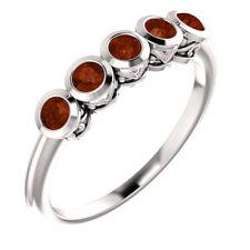 Genuine Mozambique Garnet Five-Stone Bezel Set Ring In Platinum