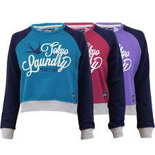 Ladies Cropped Sweatshirt Tokyo Laundry Womens Printed Crew Neck Fleece Winter