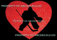 VRS HEART Love Hockey Goalie Skates w Pads Stick Puck CAR DECAL METAL STICKER