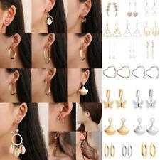 Boho Stainless Steel Crystal Pearl Shell Ear Stud Dangle Earrings Women Jewelry