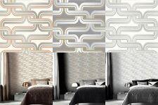 Arthouse Geometric Wallpaper Retro Orange Grey Silver Yellow Luxury Quality