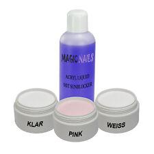 ACRYL SET 3 x Pulver klar,pink,weiss + 100ml LIQUID
