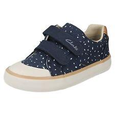 niña Clarks Azul Marino Lona CIERRE ADHESIVO Zapato de correas COMIC Cool