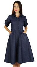 buttonDown chambray robe chemise avec des poches cou col occasionnels shi