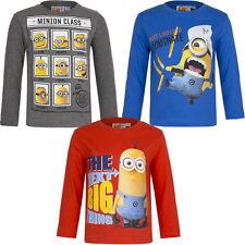 Neu Pullover Shirt Langarmshirt Kinder Minions grau blau rot 98 104 116 128 #97