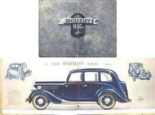 Wolseley 14/60 HP Saloon Pre War Original Prestige Sales Brochure circa 1938