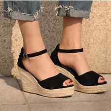 Plus Size Bohemian Women Sandals Ankle Strap Straw Platform Wedges
