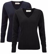 Womens Womans Ladies Cotton Blend Vee V Neck Sweater Jumper