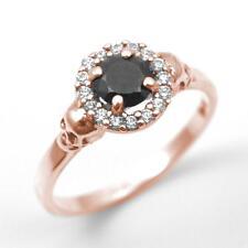 Skull Ring 9ct Rose Gold .70ct Black Diamond-Unique Round Brilliant With Halo