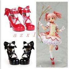 Gothic Women Madoka Kaname Cosplay High Heels Lolita Cross Strap Shoes Plus Size