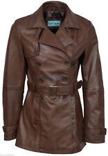 Trench Ladies BROWN Classic Mid-Length Designer Real Leather Premium Jacket Coat