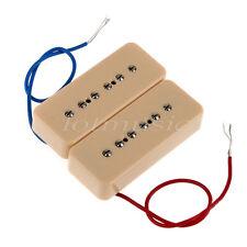 1 Set Soapbar Singel Coil Neck Bridge Pickups Set For Bass Guitar Cream/Black