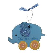 Mignon comme bouton bleu elephant cintre – rose – baby – plaque – cadeau