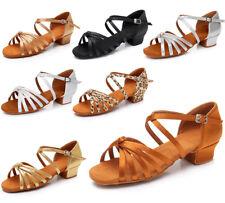 Ballroom heeled Latin Dance Shoes for Women/Ladies/Girls/Kids Tango&Salsa White