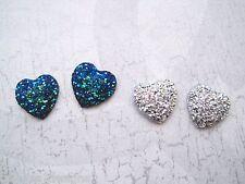 SILVER or PEACOCK BLUE GLITTER MERMAID HEART Stud Earrings Silver Plated Post