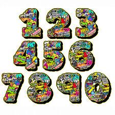 number sticker boom style helmet adesivo moto bomb stile numeri 2 pz. cm. 10-5