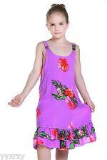 Aloha Summer Beach Hawaiian Cruise Luau Tank Ruffle Girl Dress Purple Floral