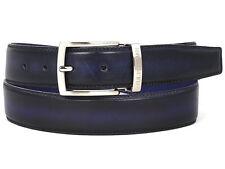 Paul Parkman Cinturón de cuero para hombre Azul Marino & tono dual (ID#B01-NVY-BLU)
