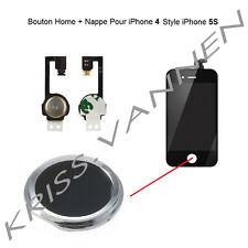Bouton Home Couleur Noir Avec Contour Argenté Pour iPhone 4 + Nappe Home Offerte