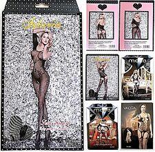 HOT Netz Catsuit viele Muster Nylon Strapse schwarz offen sexy Body Stocking