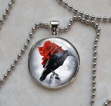 Black Crow Raven Red Rose Bird Goth Emo Pendant Necklace