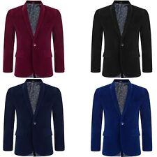 Boy Velvet Blazer Kid Suit Jacket Paisley Lining Smart Casual Formal Coat 6M-15Y