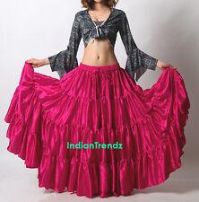 Deep Pink Satin 6 - 12 - 25 Yard Tiered Gypsy Skirt Belly Dance Ruffle Flamenco