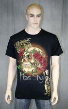 Christian Audigier ED Hardy Skull Roses Stones T-Shirt Black