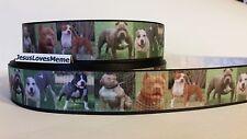 "Grosgrain Ribbon, American Pit Bull Terrier Dogs, Dog Rescue Love Pit Bulls 1"""