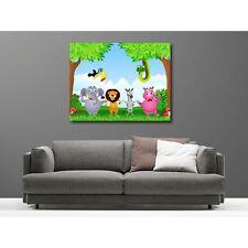 Tableaux toile déco rectangle animaux de la jungle animal group2