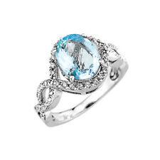 Gold Ladies Aquamarine Gemstone Diamond Infinity Engagement Ring (/Rose/White)
