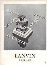 PUBLICITE ADVERTISING   1952  LANVIN Arpége parfum rumeur prétexte scandal