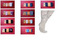 Girls Kids Children's Cotton Tights Plain or Pattern Motif sizes: 1 to 10 years