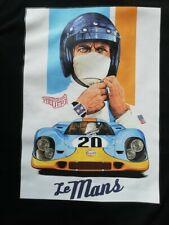 T SHIRT noir STEVE MAC QUEEN 24H LE MANS PORSCHE 917 GULF course automobile TEE