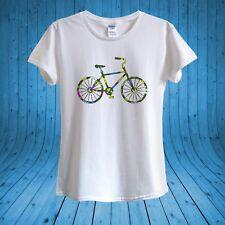 Bicycle Push Bike Ride Floral Summer Fun T-shirt Design 100% Cotton unisex women