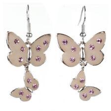 Boucles d'oreilles plaqué or cristal Swarovski papillons résine rose dorées