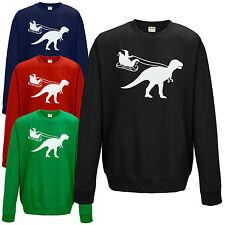 BABBO NATALE SLITTA Dinosauro Felpa divertente T-REX JURASSIC regalo di Natale Maglione Top