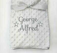 Personalised Baby Boy Girl Gender Neutral Blanket, Custom Embroidered Gift,Stars
