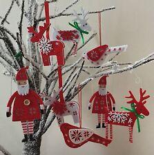 Red White Scandi Christmas Tree Decoration Nordic Reindeer Felt Gisela Graham