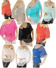 Tunika Shirt Netz Fledermaus Poncho Bluse TOP 3-tlg SET Gr XS-S-M