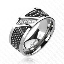 Ring Titan silber 9mm breit 4 Zirkonia Modern Line 60 (19) - 72 (23)