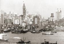 Repro photo ancienne New-York Etats-Unis Skyline immeubles bateaux deb. XXe