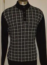 Men's Chaps Black Long Sleeve Button-Neck Pullover Sweater Sizes M, L, XL, 2XL