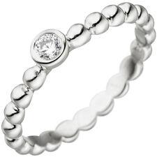 Ring Kugelring Kugel mit weißem Zirkonia Solitär 925 Sterling Silber Damen