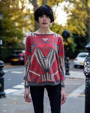 Lady aztec design print soft knitted wool blend jumper knitwear