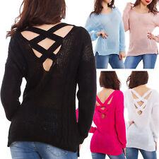 Maglione donna primaverile pullover tricot lungo schiena nuda leggero GI-5801