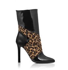 Tamara Mellon Leopard Rebellious Patent Boots 105MM Heels $995 NEW