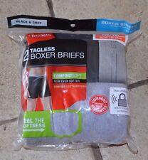 2 pk Hanes Boxer Briefs Underwear Men's Small Medium Large Tagless Black & Gray