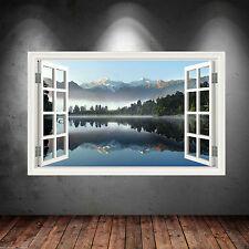 Couleur Complète Fenêtre Montagnes Lac Art Mural Autocollant Décalco Transfert